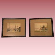 Caroline M. Bell Pair Nautical Watercolor Paintings Signed