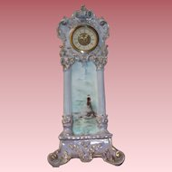 Ornate Antique French Limoges Porcelain Clock With Handpainted Ocean and Lighthouse Scene