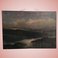 Amazing Seascape Oceanscape Oil Painting of Waves Espana 1926