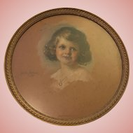 Beautiful Antique Portrait Painting of Young Girl