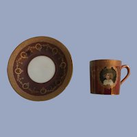 Antique Portrait Demitasse Cup and Saucer Bavaria Hand Painted Gilded