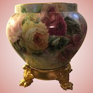 Gorgeous Large Antique French Limoges Porcelain Roses Jardiniere With Plinth