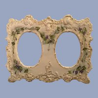 Lovely Antique French Limoges Double Picture Frame With Violets