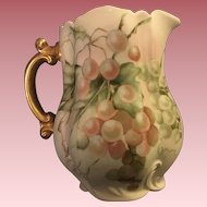 Lovely Antique French Haviland Limoges Water Pitcher With Hand Painted Grapes