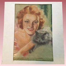 Fabulous Old Illustration Art Pastel Painting With Woman and Cat, Signed