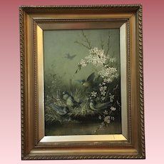 Gorgeous English Antique Blue Birds Oil Painting on Canvas With Flowers