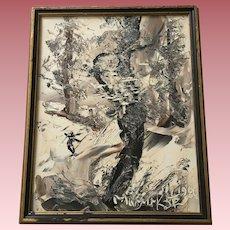 Morris Katz (1932-2010) Oil Painting Winter Scene Signed 1986