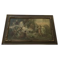 "Beautiful Antique Emmanuel Oberhauser Print ""The Feast of Venus"" With Cherubs and Pink Roses"