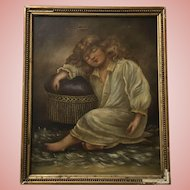 Beautiful Little Girl Oil Painting Antique