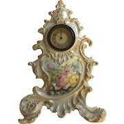 Gorgeous Antique French Limoges Clock With Roses, Double Factory Marked