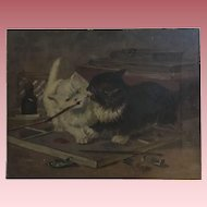Antique Cats Oil Painting