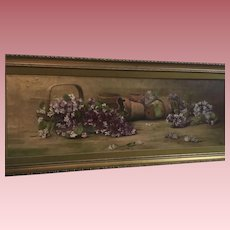 Gorgeous Antique 1896 Yardlong Violets Oil Painting Signed McCord