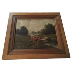 Wonderful 19th Century Antique Cows Oil Painting Signed - Red Tag Sale Item