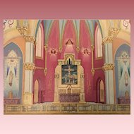 Old PA Church Watercolor Painting Altar Religious St. Nicholas