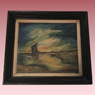 Vintage Marine Oil Painting E. Copeland