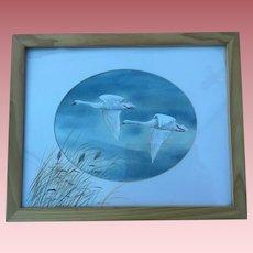 Swans In Flight Painting K. Herzy