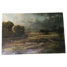 Antique Landscape With Sheep Oil Painting Signed Maxwell - Red Tag Sale Item