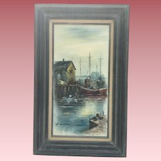 Vintage Oil Painting of Seaside Boats Signed Simpson