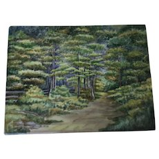 """Antique French Limoges Plaque Woodland Path Large and Beautiful 11-1/8 By 8-3/8"""""""