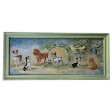 The Sweetest Vintage Animal Painting - Dogs, Cat, Birds - Signed