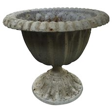 Antique Cast Iron Urn Planter Old Chippy Paint