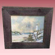 Vintage Seascape Beach Oil Painting Signed