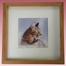 Beautiful Vintage Watercolor of a Tabby Cat Signed