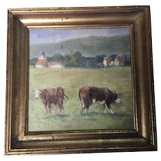 Fine Old French Cows Oil Painting