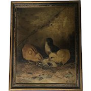 Antique Baby Chicks Oil Painting Signed