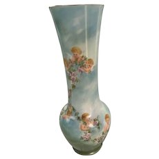 Precious Antique French Limoges Porcelain Vase With 8 Cherubs