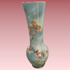 Precious Antique French Limoges Porcelain Vase With 8 Cherubs