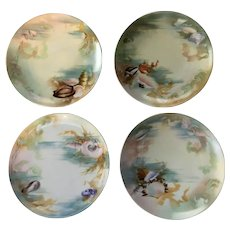 Set of 4 Antique Rosenthal Plates Hand Painted Sea Shells