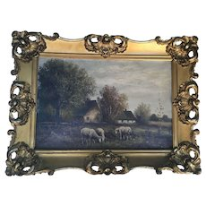 Antique Oil Painting Landscape With Sheep in Wonderful Frame, Signed Melrose