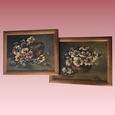 Pair Antique Oil Paintings, Pansies and Pink Roses, Signed