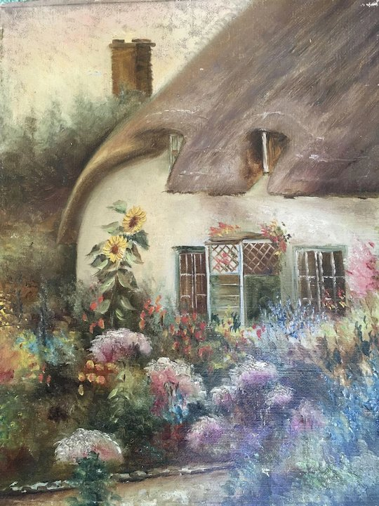 Antique English Cottage Oil Painting With Garden