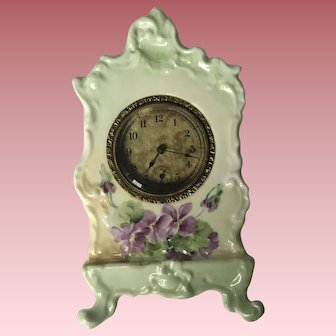 Antique French Limoges Clock With Violets