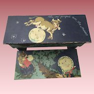 Precious Vintage Folk Art Step Stool Hand Painted Wood With Cat, Cow, Hey Diddle-Diddle Theme