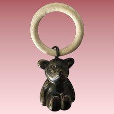 Vintage Sterling Silver Bear Baby Teething Ring Rattle, Large