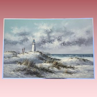 Vintage Ocean Beach Dunes Seascape Oil Painting Signed Gordon