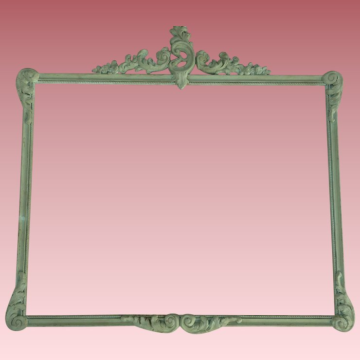Large Antique Carved Wood Frame Original Green Paint Shabby Chic ...