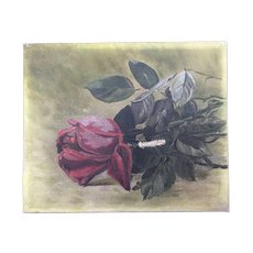 Sweet Antique Rose Oil Painting in Petite Size
