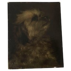 Antique Terrier Dog Oil Painting M. Sadler