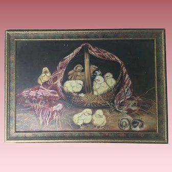Antique Oil Painting of 12 Chicks and a Basket