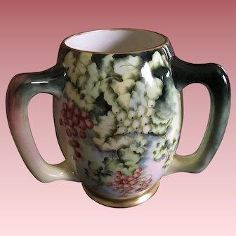 Antique American Belleek Loving Cup With Hand Painted Berries, Like Limoges