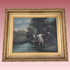 Antique Oil Painting Cows in a Meadow, Signed Kaufmann