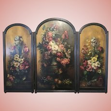 Amazing Old 3-Panel Fire Screen Floral Oil Painting Folding Wood So Beautiful