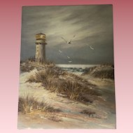Vintage Beach Oil Painting Signed Emerson