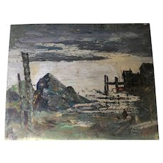 Vintage Abstract Oil Painting From High-End NYC Estate