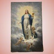 Beautiful Antique Cherubs Oil Painting Roses Religious