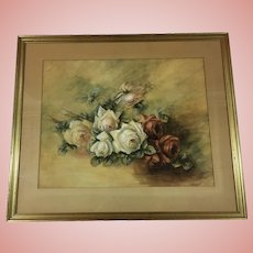 Beautiful Roses Painting Signed Multicolored